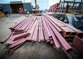 Pile of steel for construction