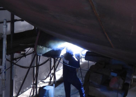 Welding work near the bilge keel