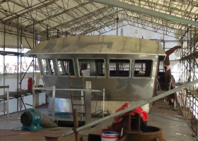 An external view of the wheelhouse showing the windows now fitted
