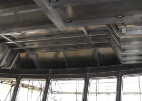 The structure of the wheelhouse ceiling can be seen