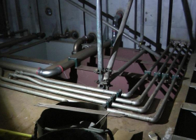 Pipework to the bilge tanks is being installed