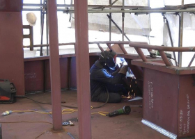 Welding on the aft upper deck