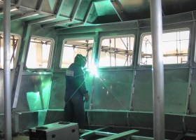 Work continues inside the wheelhouse