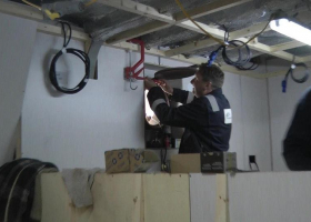 Fitting a porthole in the galley area