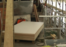Decorative panels waiting to be fitted in the deck house