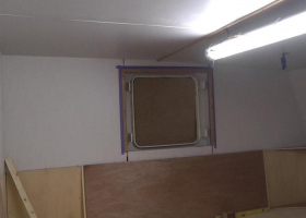 Paneling of the mess area is progressing well