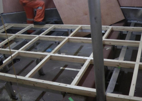 The floor joists have been fitted in the wheelhouse