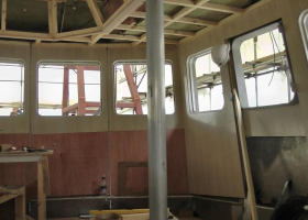 Paneling of the wheelhouse walls is progressing well