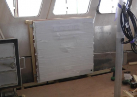Electrical cabinets have been fitted in the wheelhouse