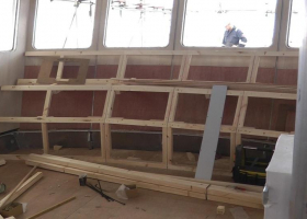 The framework for the front display panel of the wheelhouse is almost complete