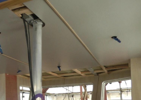 The main part of the wheelhouse ceiling has now been paneled