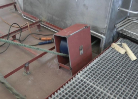 The pulley system for the tow rope as it exits at the rear of the wheelhouse