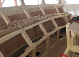 The framework for the front panel of the wheelhouse is complete