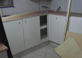 The floor units are now fitted in the galley