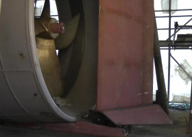 The lower part of the rudder