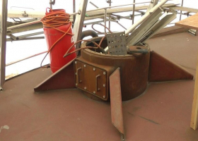 The mount for the landing crane has been built onto the upper deck