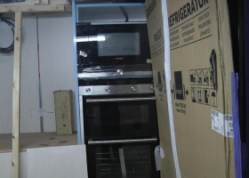 The ovens have been installed in the galley