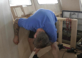 Panelling work continues in the wheelhouse