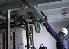 Working on the engine room pipework
