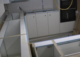 In the galley the worktops are about to be fitted