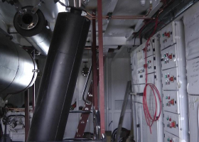 More of the exhaust systems have been fitted in the engine room