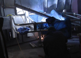 Welding work ongoing in another part of the shelter deck