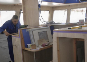 There is still work to do on the wheelhouse woodwork