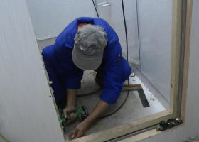 Work continues on fitting out the shower room