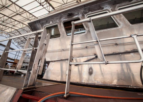 Railings and wheelhouse exterior in steel
