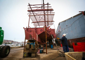Fish room deck head being lifted 02